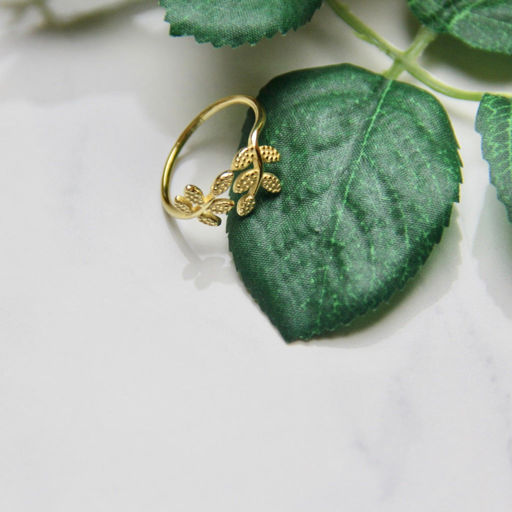 Fine Silver -Leaves Open Rings - Sswing Lifestyle Company
