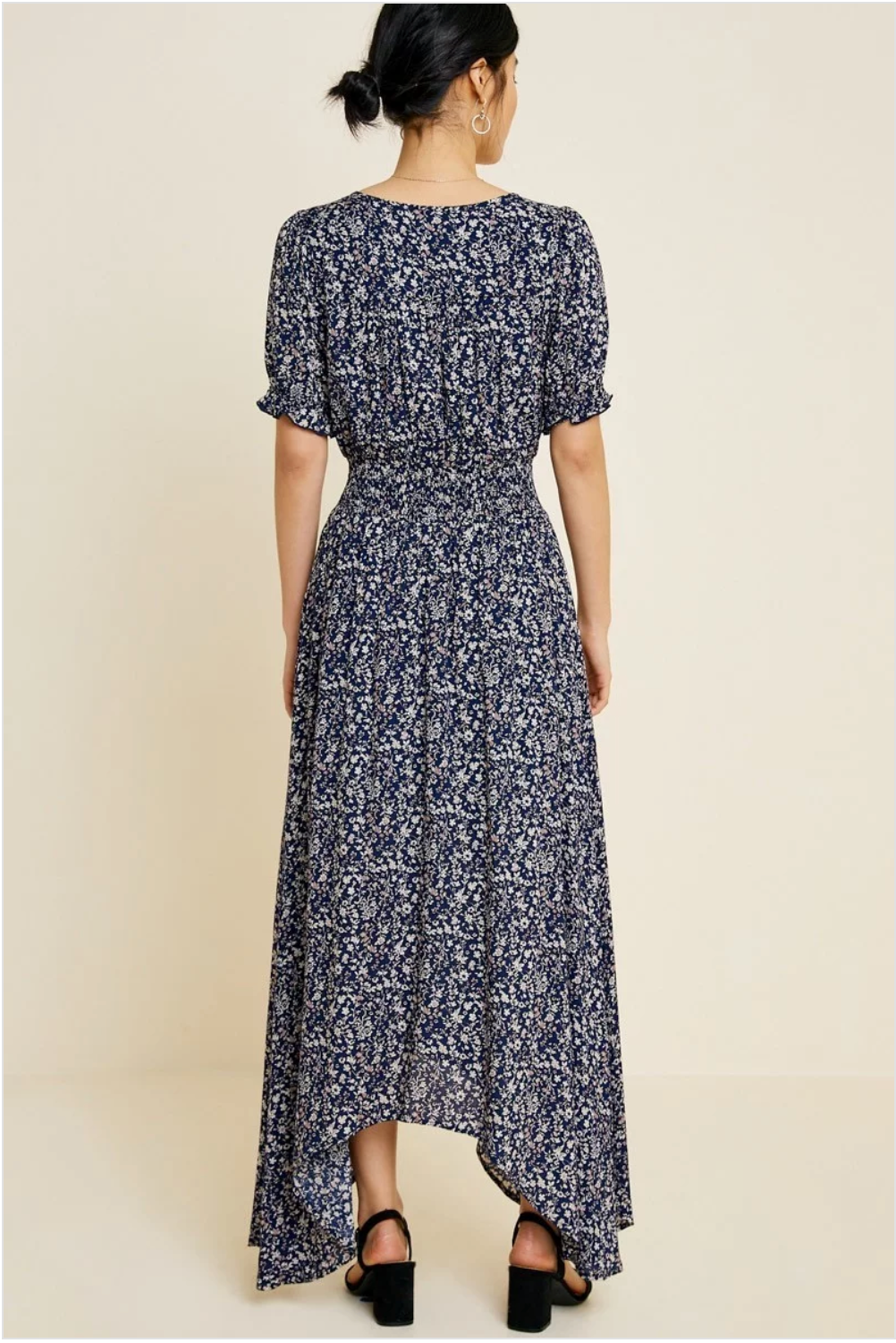 Floral Ruched Waist Maxi Dress - Sswing Lifestyle Company