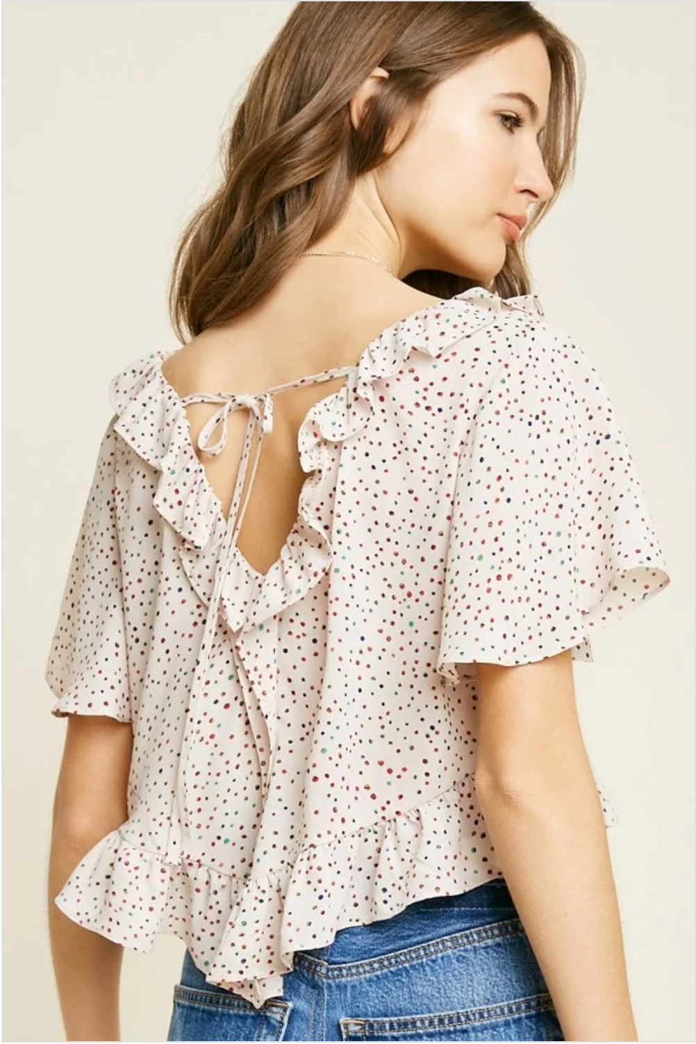 Ruffle Polka-Dot Crop Top - Sswing Lifestyle Company