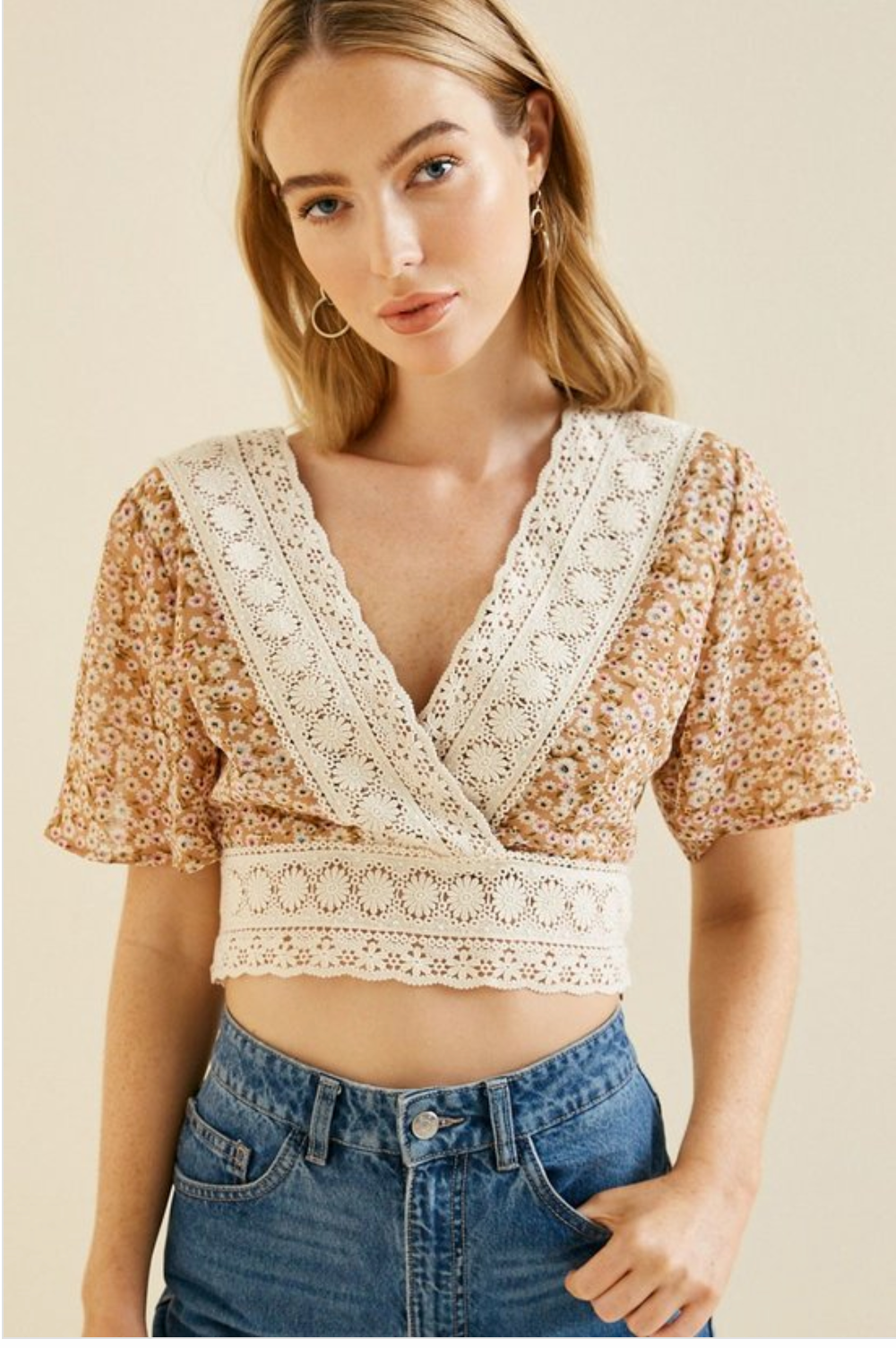 Floral Crochet Flutter Sleeve Lace Crop Top - Sswing Lifestyle Company