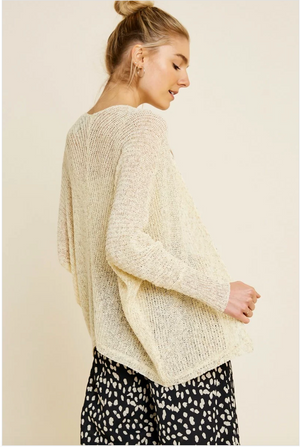 Semi-Sheer Dolman Sleeve Cardigan Sweater - Sswing Lifestyle Company