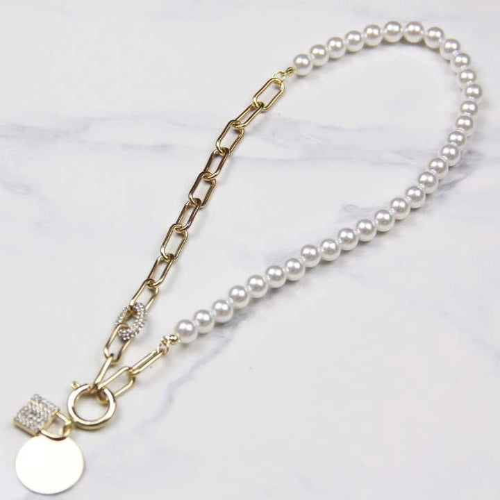 Parisian Style Metal Chain Pearl Pendant Necklace - Sswing Lifestyle Company