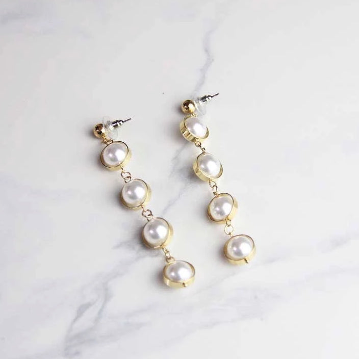 Elegant Long Dangle Pearl Earrings - Sswing Lifestyle Company