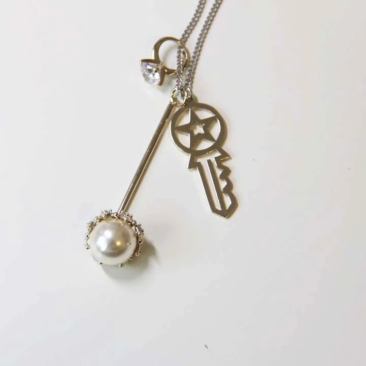 Key/Pearl Long Sweater Chain - Sswing Lifestyle Company