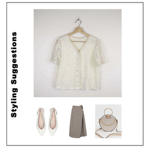 Asian Sizing- Lace Floral Pearl Button Up Blouse - Sswing Lifestyle Company