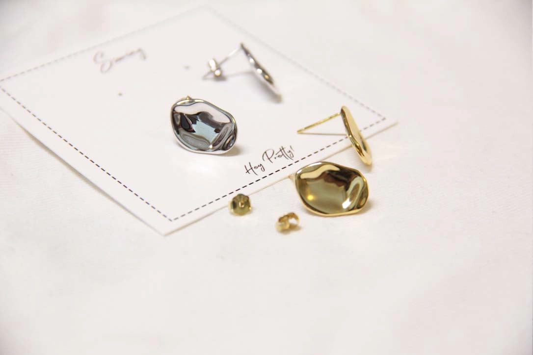 Fine Silver- Geometric Mini Stud Earrings - Sswing Lifestyle Company