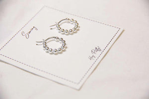 Fine Silver-Mini Silver Ball Hoop Earrings - Sswing Lifestyle Company