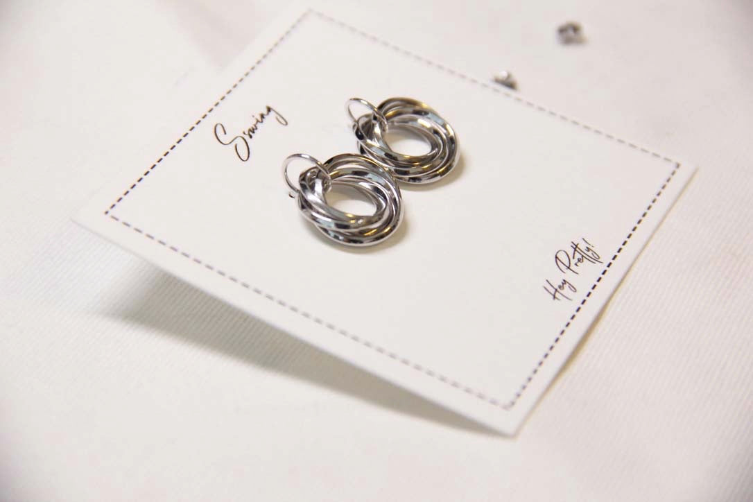Fine Silver-Mini Circles Stud Earrings(Silver) - Sswing Lifestyle Company