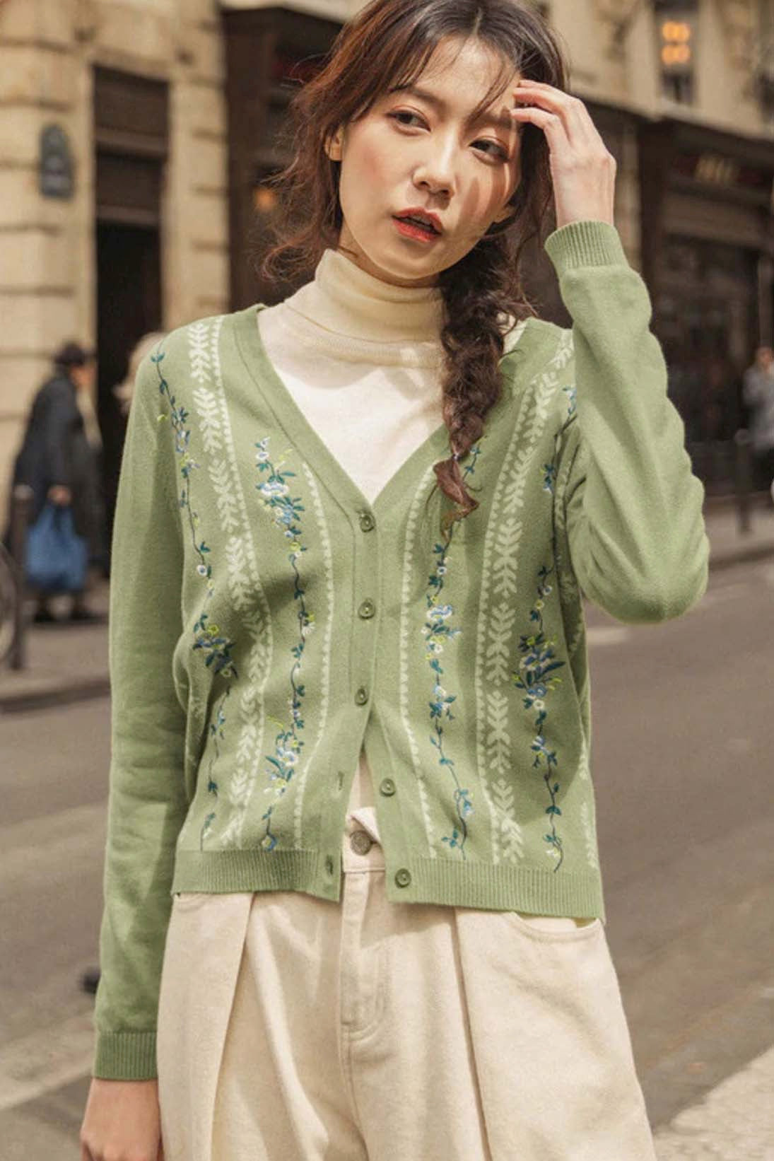 Asian Sizing- Vintage Floral Embroidery Cardigan - Sswing Lifestyle Company