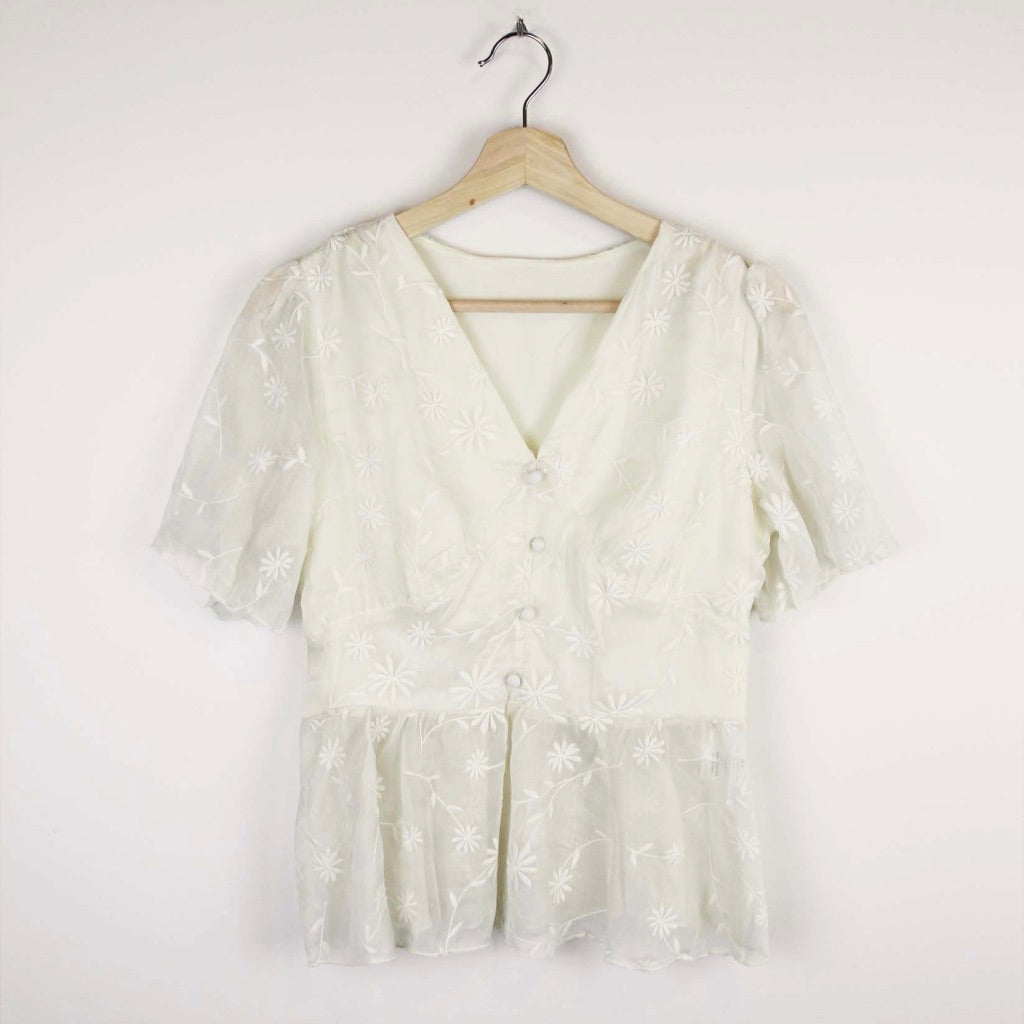 Asian Sizing- Floral Embroidery Lace Chiffon High Waist Sheer Top - Sswing Lifestyle Company