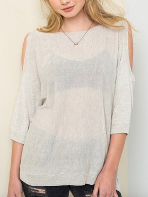 Bat Wing Cold Shoulder Blouse - Sswing Lifestyle Company