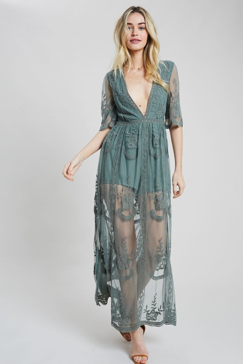 Elegant Lace Maxi Romper Dress - Sswing Lifestyle Company