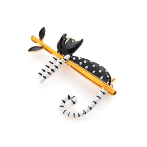 Black Polkadots Lazy Cat Brooches - Sswing Lifestyle Company