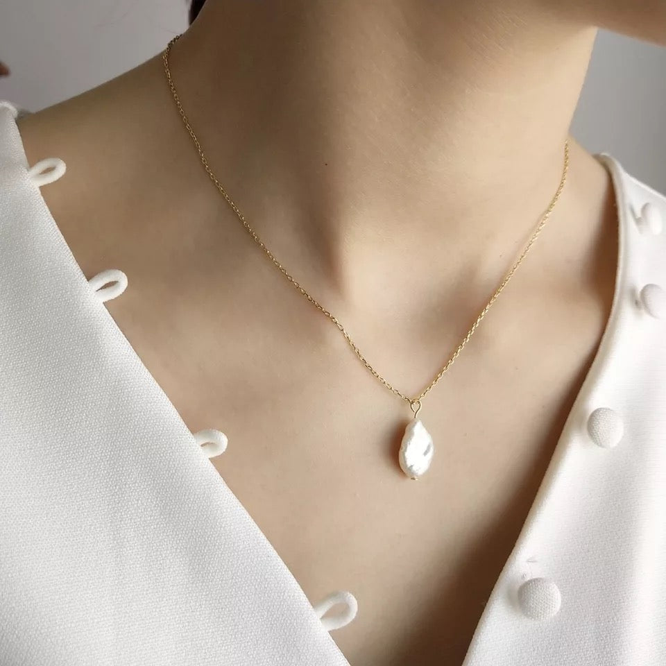 Fine Silver- Freshwater Pearl Pendant Necklace - Sswing Lifestyle Company