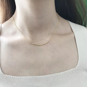 Fine Silver- Minimalist Skinny Curved Bar Necklace - Sswing Lifestyle Company