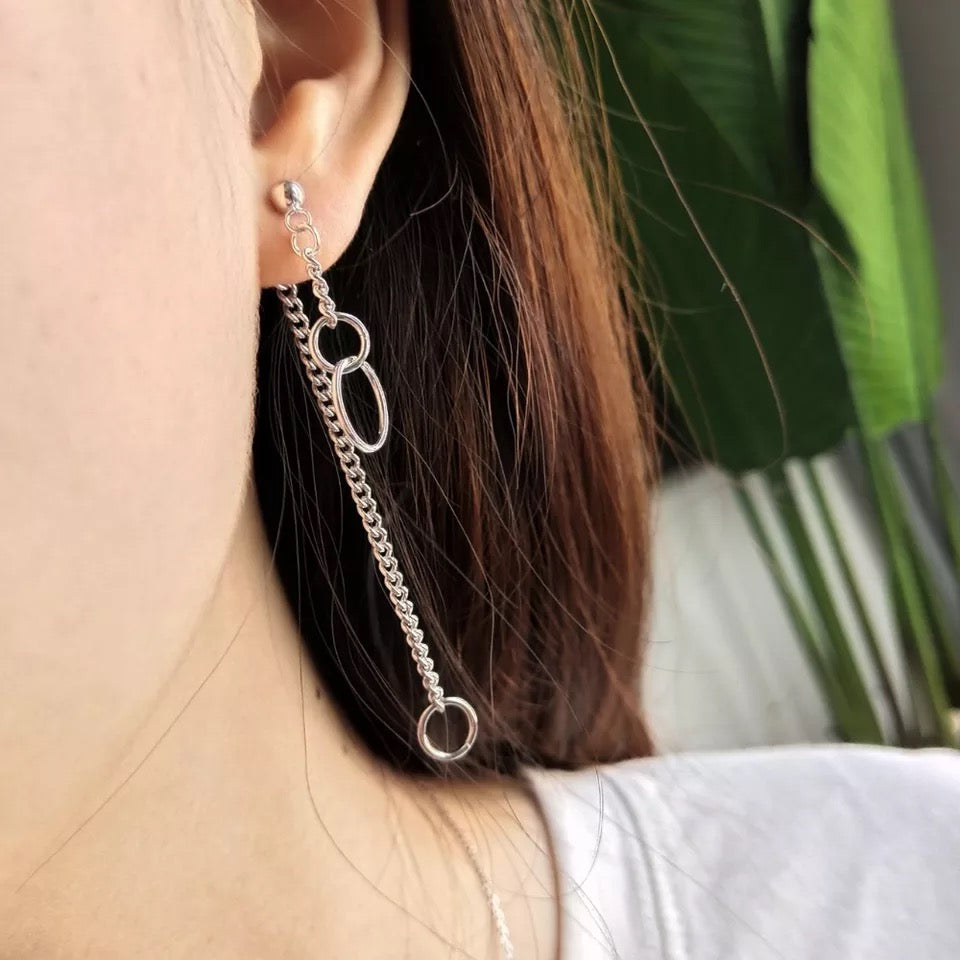 Fine Silver-Circles & Chain Dangle Earrings - Sswing Lifestyle Company