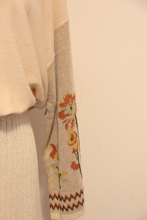 Asian Sizing- Floral Kimono Sleeves Sweater - Sswing Lifestyle Company