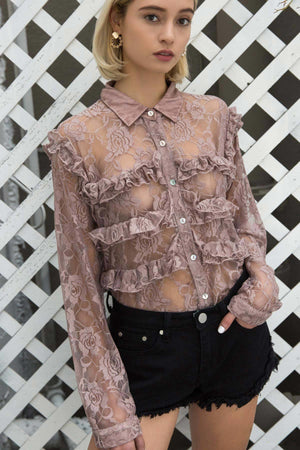 Annabelle Lace See Through Shirt - Sswing Lifestyle Company