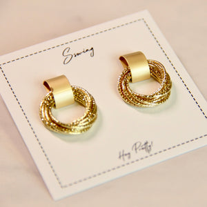Gold Metal Multi-layer Stud Earrings - Sswing Lifestyle Company