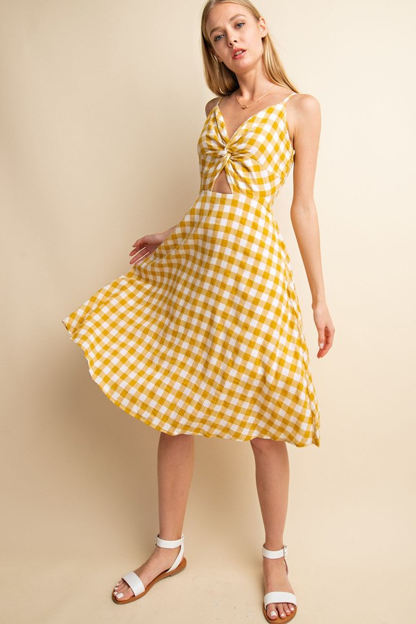 Sale! Plaid Front Twisted Bodice Midi Dress - Sswing Lifestyle Company