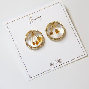 Vintage Crystal Dry Flower Stud Earrings - Sswing Lifestyle Company
