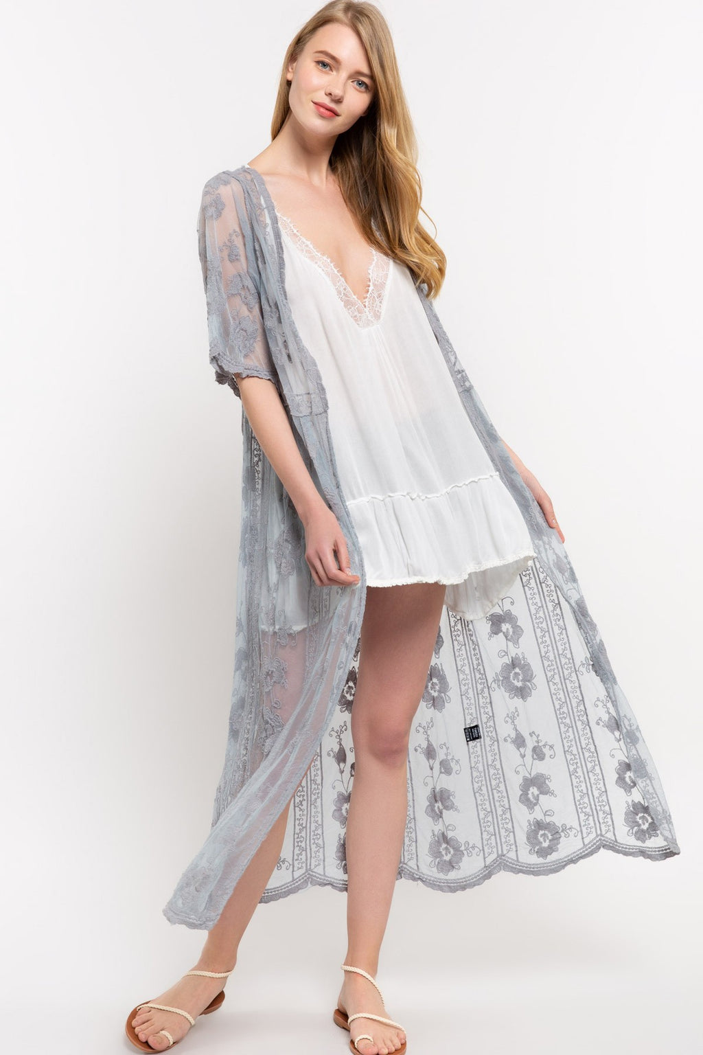 Sale! Lace Sheer Embroidered Kimono - Sswing Lifestyle Company