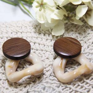 Geometric Wood Detailed Earring(Brown) - Sswing Lifestyle Company