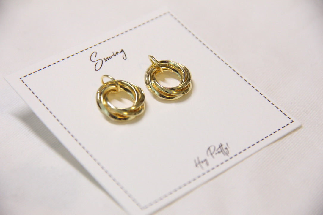 Fine Silver-Mini Circles Stud Earrings(Gold) - Sswing Lifestyle Company