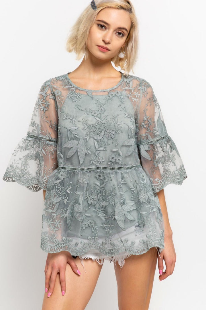 Sale! DISCOUNT (NEW ARRIVAL Lace Embroidery Top) - Sswing Lifestyle Company