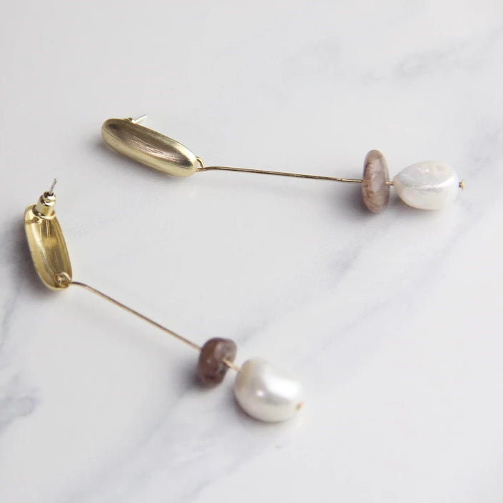 Elegant Gold Metal Natural Stone Drop Earrings - Sswing Lifestyle Company