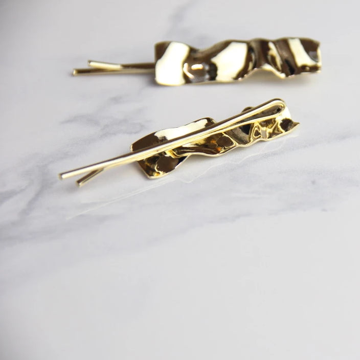 Gold Metal Irregular Shape Hair Clip - Sswing Lifestyle Company