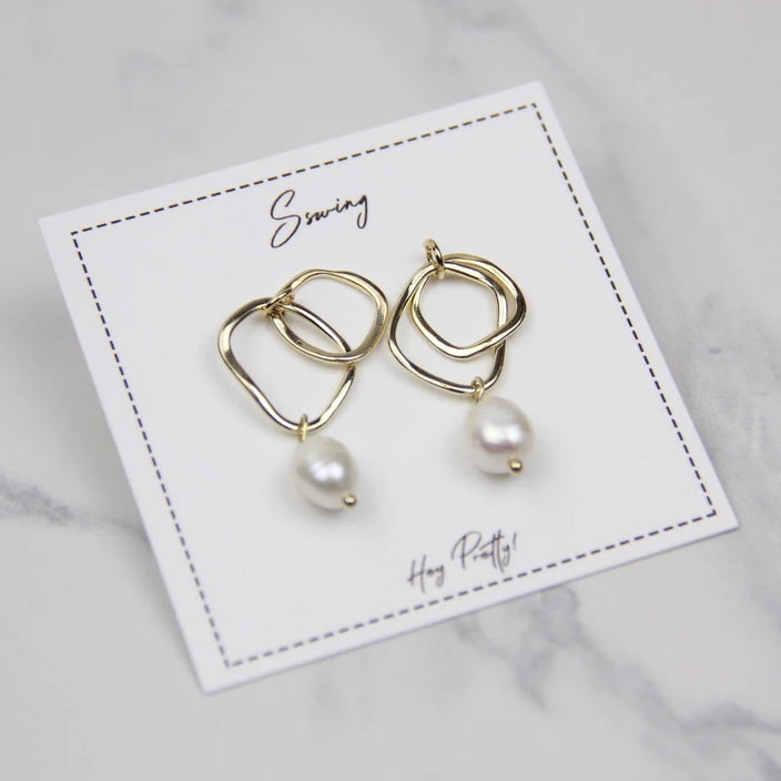Double Circle Pearl Drop Earrings - Sswing Lifestyle Company