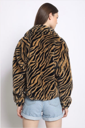 FAUX FUR TIGER PRINT JACKET - Sswing Lifestyle Company
