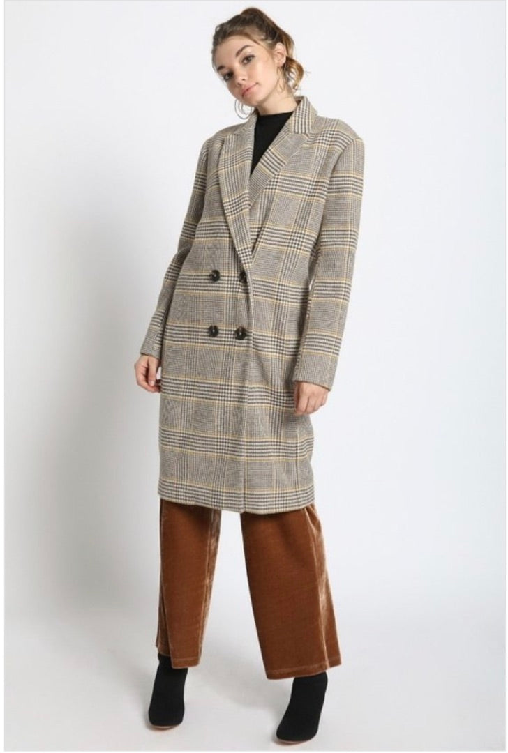 DOUBLE BREASTED PLAID COAT - Sswing Lifestyle Company