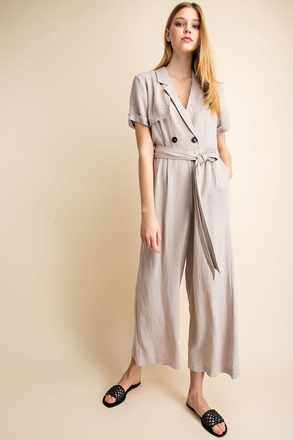 Sale! Wrap Button Detail Waist Tie Jumpsuit - Sswing Lifestyle Company