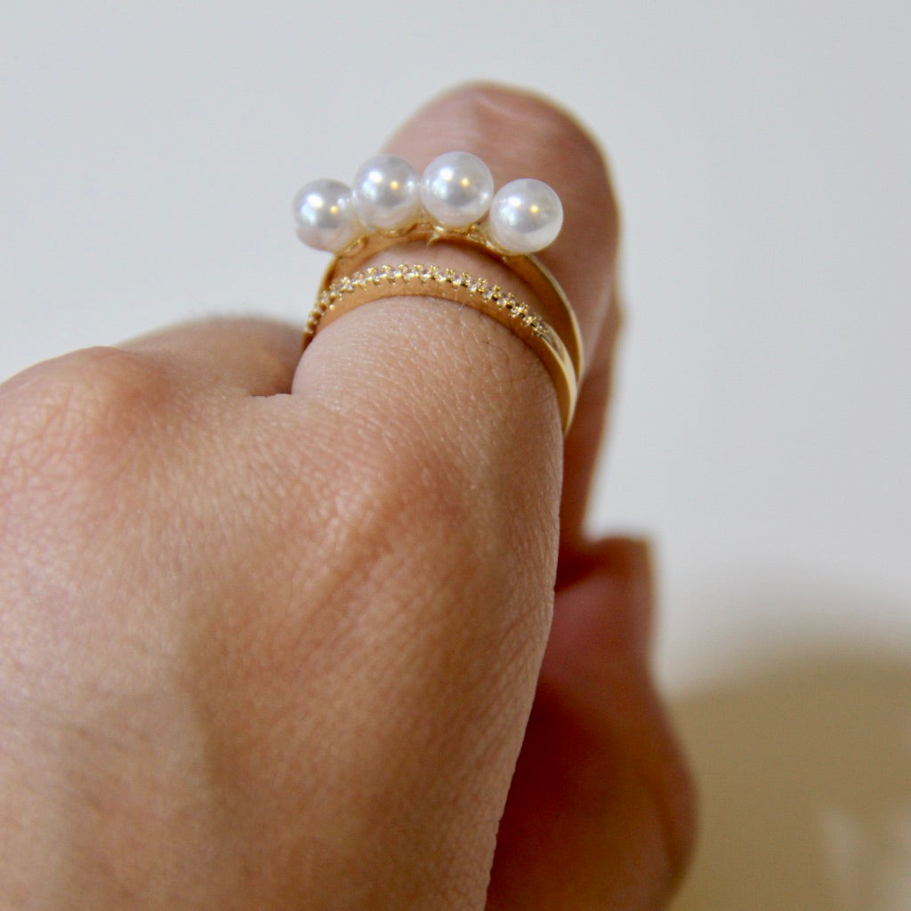 Stimulated Pearls Open Ring - Sswing Lifestyle Company