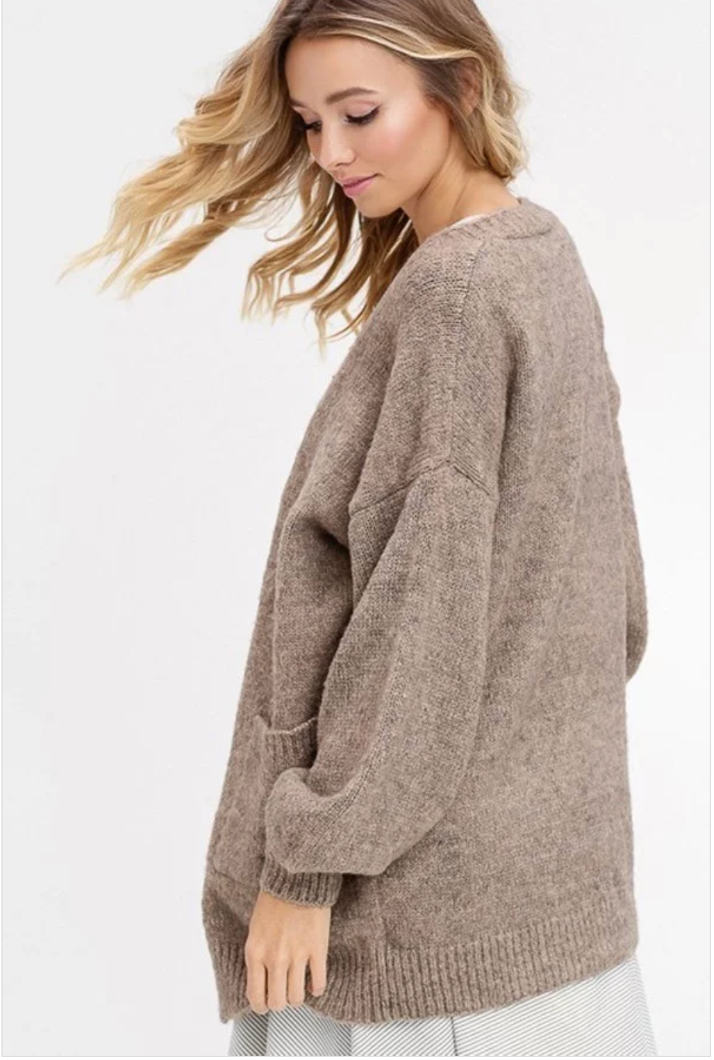 Two tone soft touch wool open cardigan - Sswing Lifestyle Company