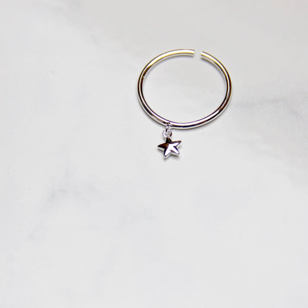 Fine Silver- Little Star Open Ring - Sswing Lifestyle Company