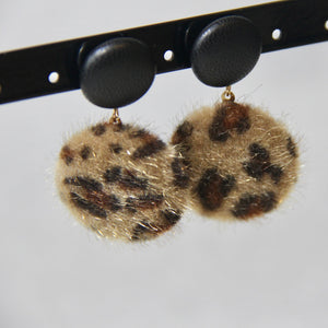 Fluffy Leopard Print Drop Earrings - Sswing Lifestyle Company