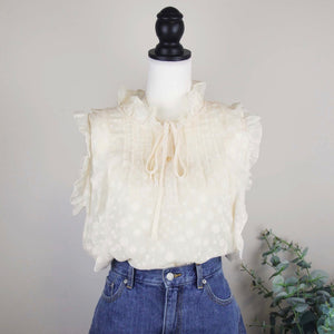 Asian Sizing- Sleeveless Ruffle Dobby Retro Princess Blouse - Sswing Lifestyle Company