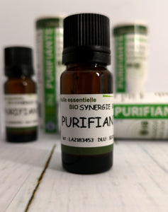 Purifying Essential oil Diffuser Blend Blend of organic essential oils of Cajuput, Cinnamon twig, Atlas cedar, Cypress, Eucalyptus Globulus, Clove, Lavander Super, Peppermint, Myrtle, Niaouli, Sweet orange, Oregano, Palmarosa, Scots Pine, Ravintsara, Cineole Rosemary, Savory, Sage, Tea Tree and Thymol Thyme.