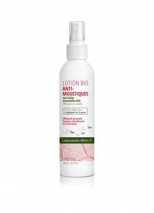 Organic Mosquito lotion repellant spray. As seen in the Irish Independent Magazine. Made from a blend of organic essential oils proven to work. Made by Laboratoire ALTHO. Available to buy in Ireland.