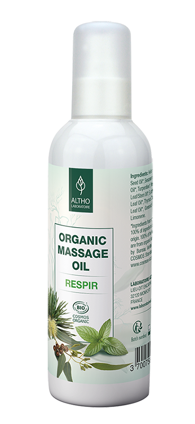Respiratory Breathe Easy Massage Oil Essential oils for coughs colds Aromatherapy Holistic healing Online store Ireland Laboratoire ALTHO