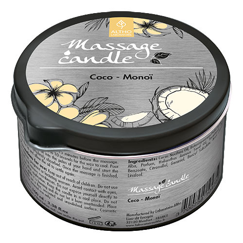 Organic Massage Candle with Coconut,Monoi Fragrance & Vitamin E, 100ml