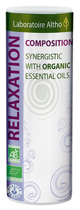 Relaxing Blend of organic essential oils: Basil, Bergamot, Lavandin super, Lemongrass, Orange, Palmarosa, Patchouli, Petitgrain, Sage officinale, Ylang ylang. Laboratoire ALTHO has prefected this synergy of 10 organic essential oils especially selected for their soothing and calming properties. This blend is ideal to help reduce stress levels after a long day or to feel calm when emotions are running high.