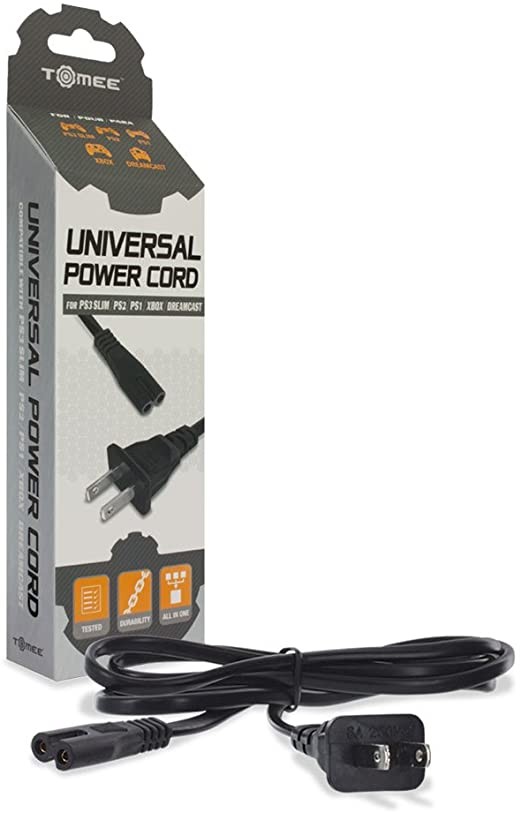 Universal Power Cord (PS1 - PS2 - PS3 Slim - Xbox - Dreamcast) [Tomee]