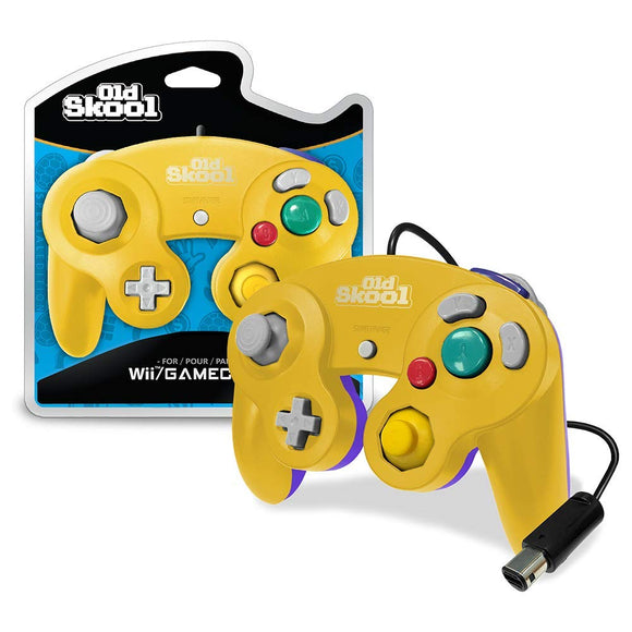 Yellow & Purple Wired GameCube Controller [Old Skool] (Nintendo Wii / Gamecube)
