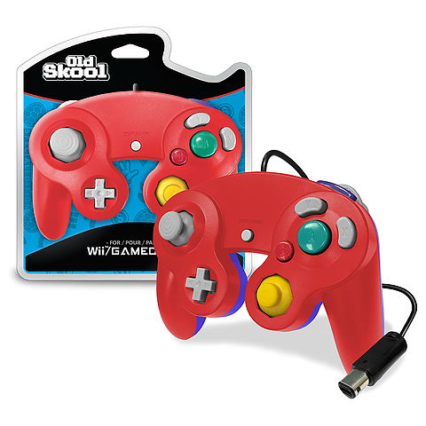 Red & Blue Wired GameCube Controller [Old Skool] (Nintendo Wii / Gamecube)