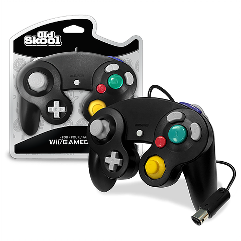 Black Wired GameCube Controller [Old Skool] (Nintendo Gamecube / Wii)