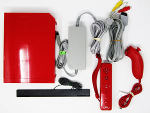 Red Wii system + 1 Red Wii remote + 1 Red Wii nunchuk